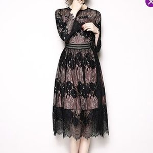 db0fb647561 Coeur de Vague · Black   Pink Lace-Overlay Midi Dress